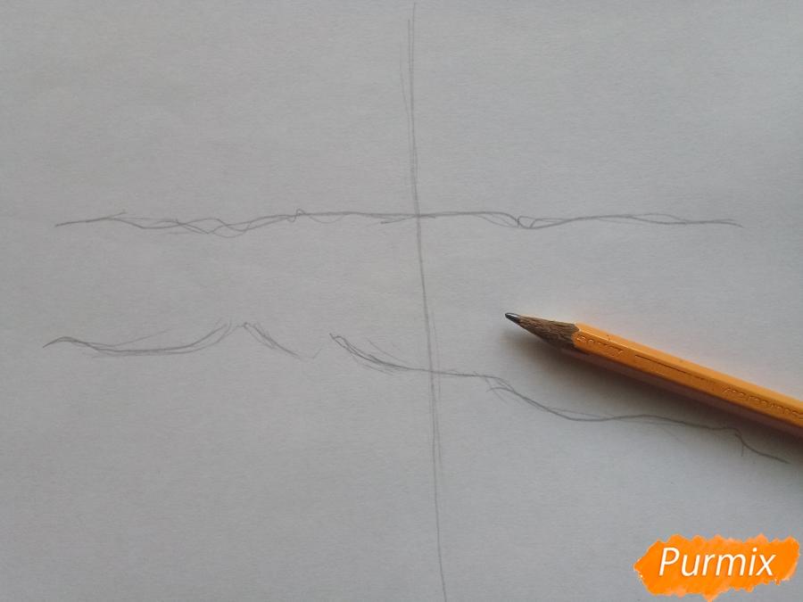 Рисуем зимний парк карандашами - шаг 1