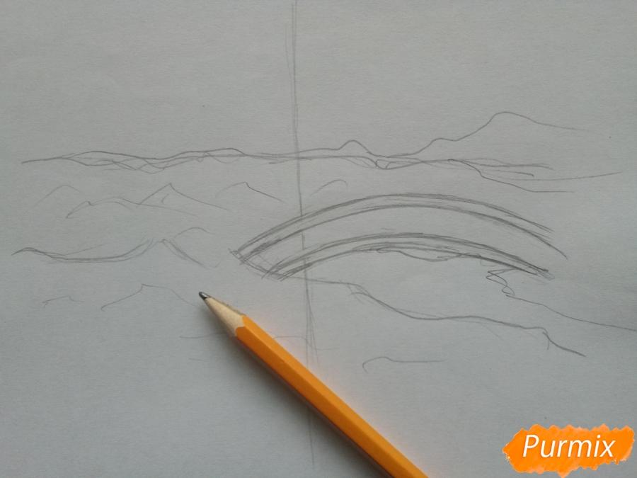 Рисуем зимний парк карандашами - шаг 2