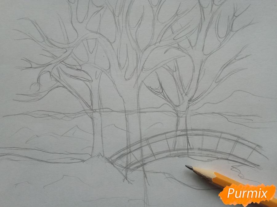 Рисуем зимний парк карандашами - шаг 3
