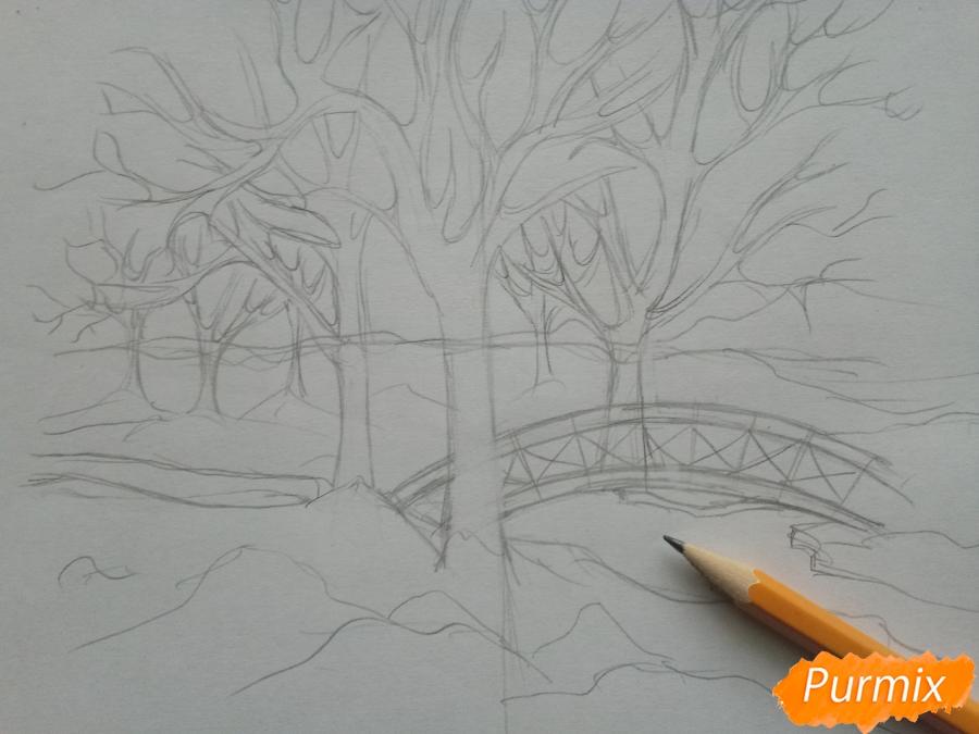 Рисуем зимний парк карандашами - шаг 4