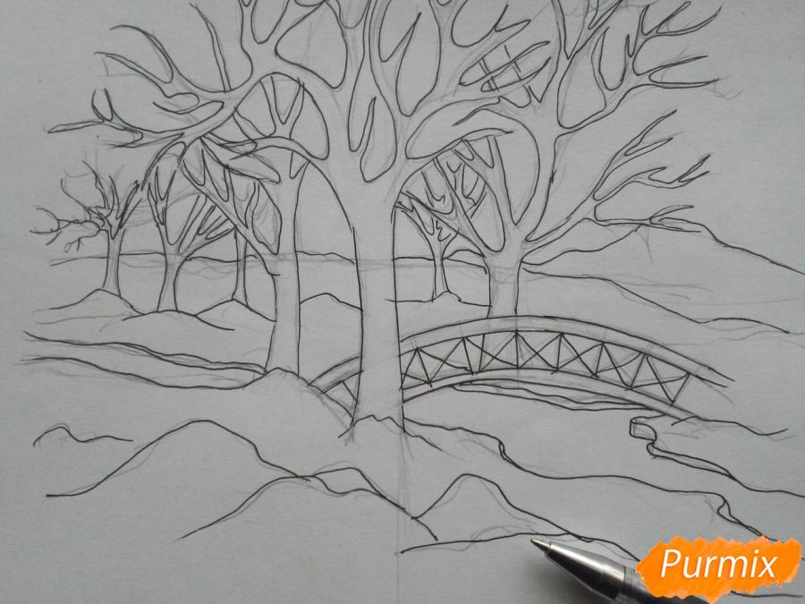 Рисуем зимний парк карандашами - шаг 5