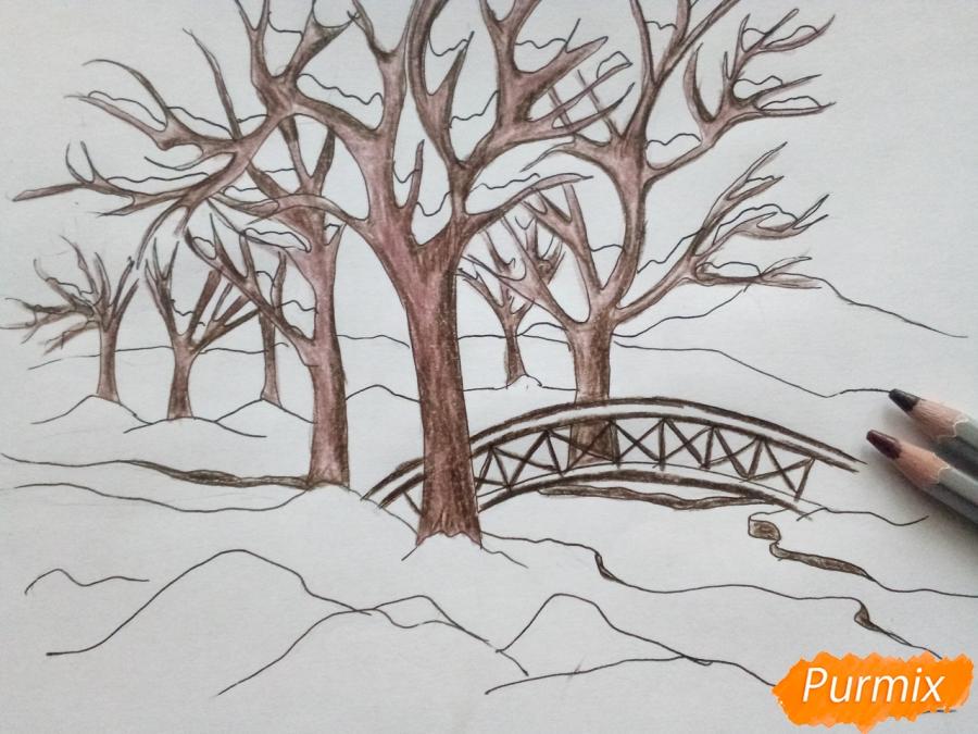 Рисуем зимний парк карандашами - шаг 6