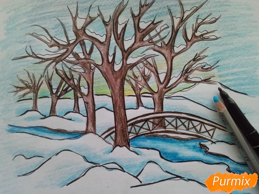 Рисуем зимний парк карандашами - шаг 8