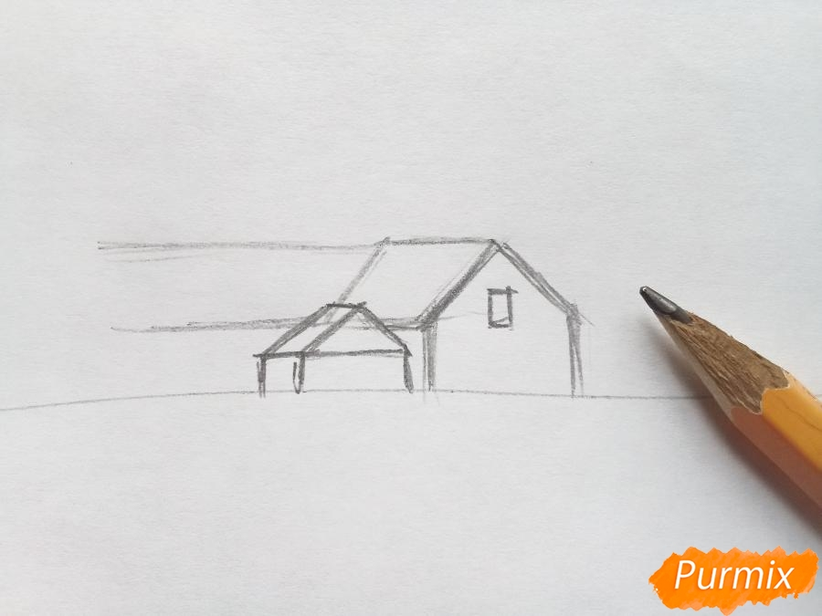 Рисуем зимний пейзаж - шаг 1