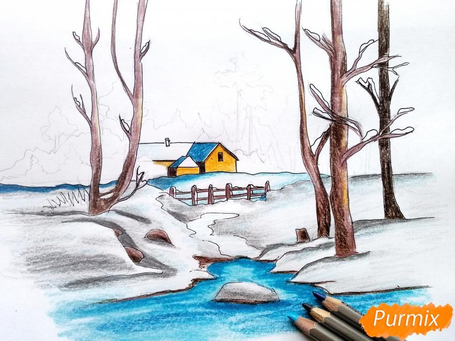 Рисуем зимний пейзаж - шаг 10