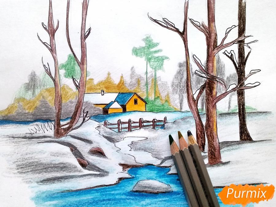 Рисуем зимний пейзаж - шаг 11