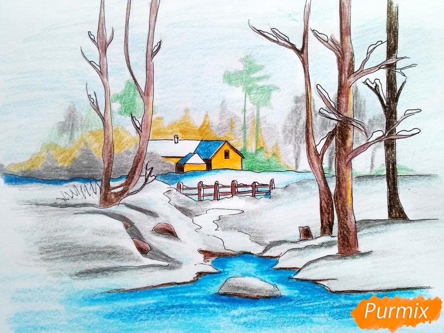 Рисуем зимний пейзаж - шаг 12