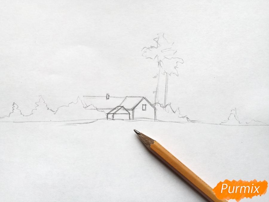 Рисуем зимний пейзаж - шаг 2