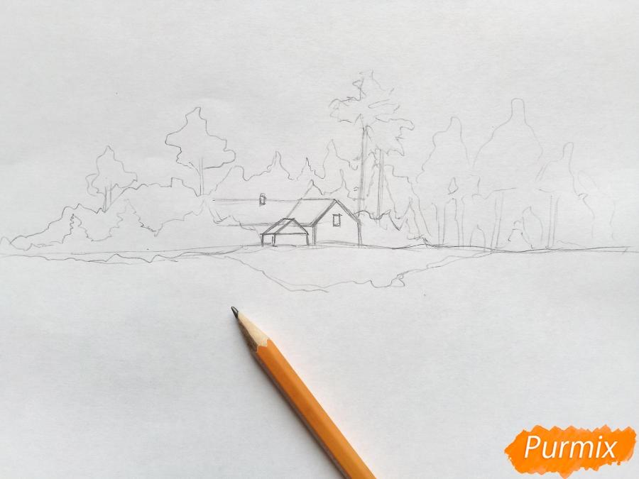 Рисуем зимний пейзаж - шаг 3