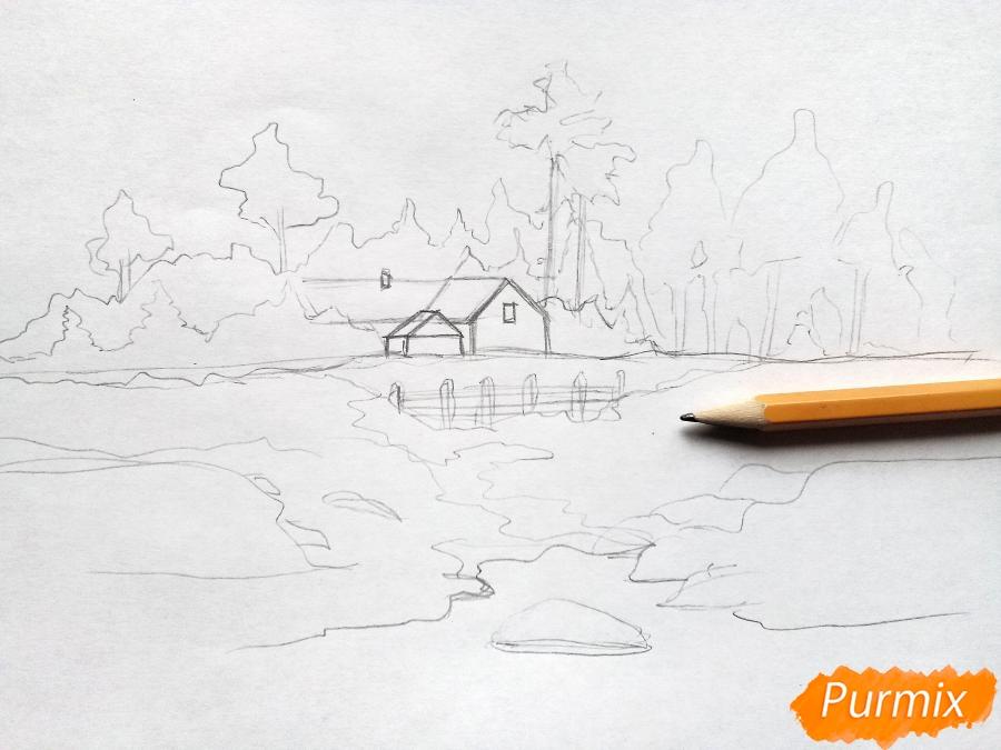 Рисуем зимний пейзаж - шаг 4
