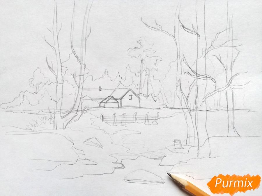 Рисуем зимний пейзаж - шаг 5