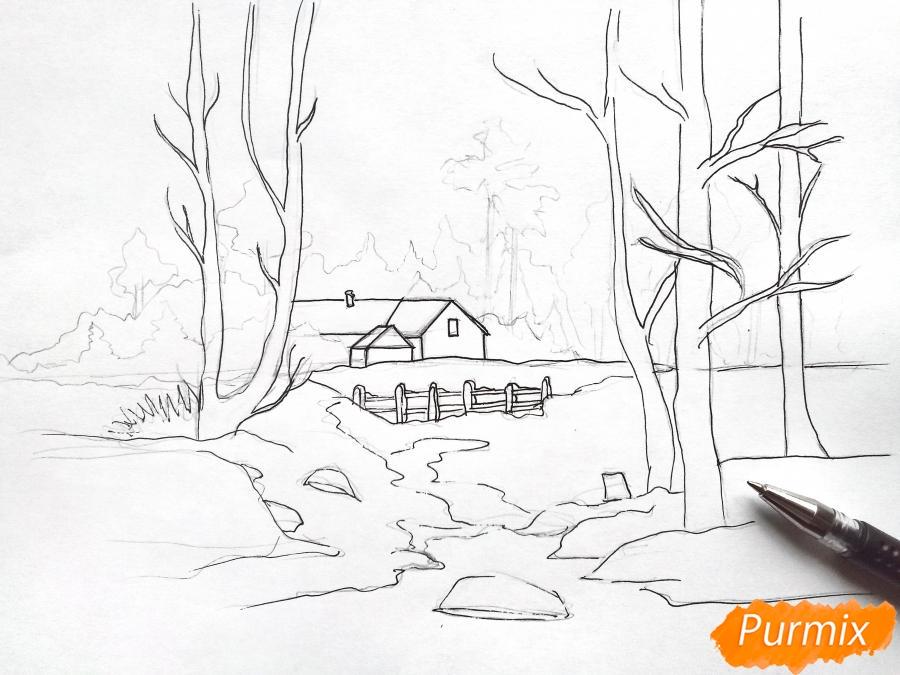 Рисуем зимний пейзаж - шаг 6