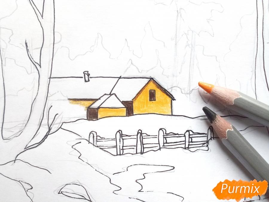 Рисуем зимний пейзаж - шаг 7