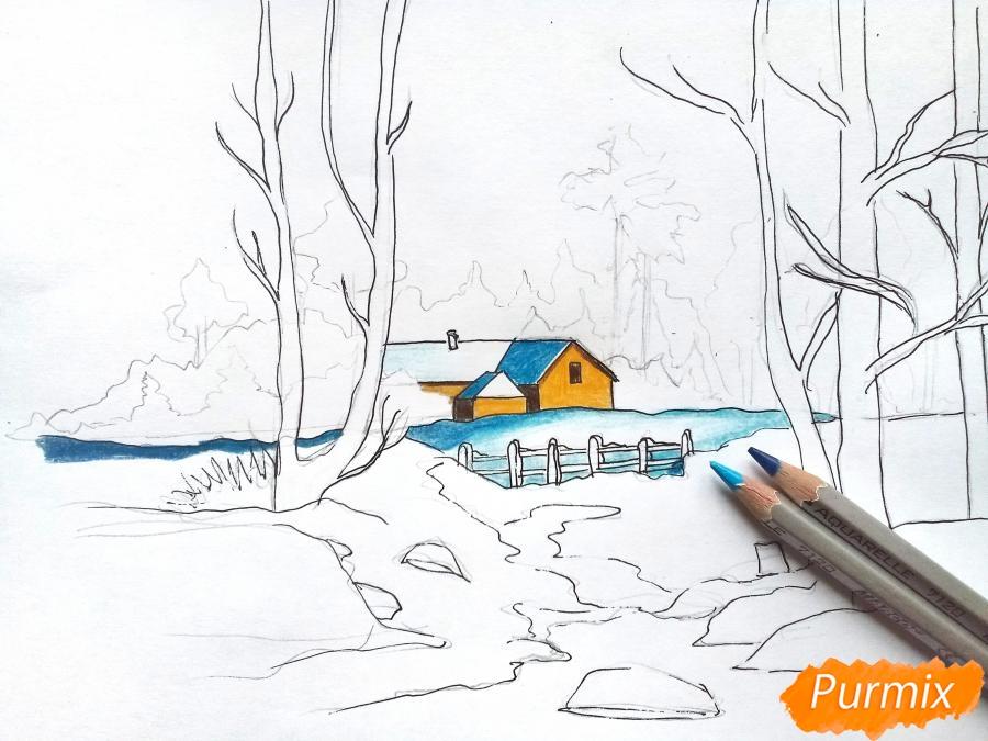 Рисуем зимний пейзаж - шаг 8
