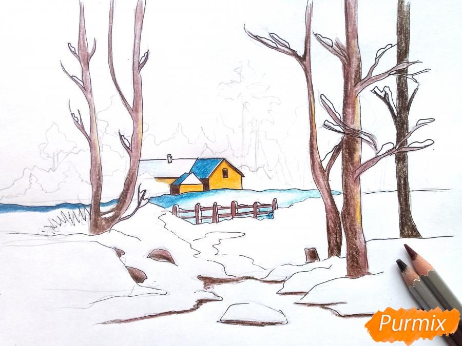 Рисуем зимний пейзаж - шаг 9