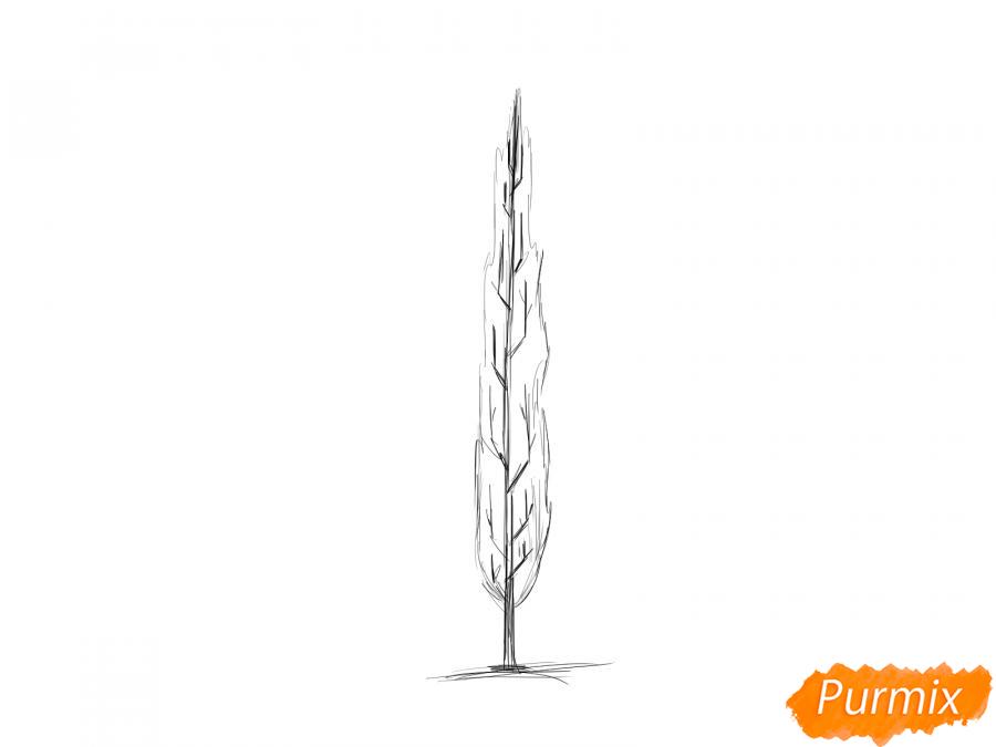 Рисуем зимний тополь - шаг 4