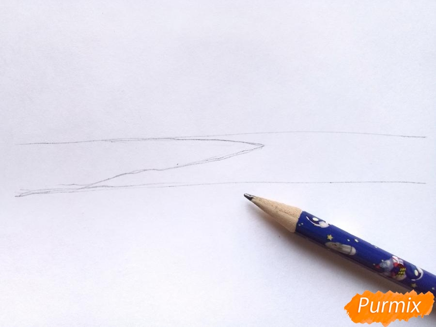 Рисуем зимний закат карандашами - шаг 1