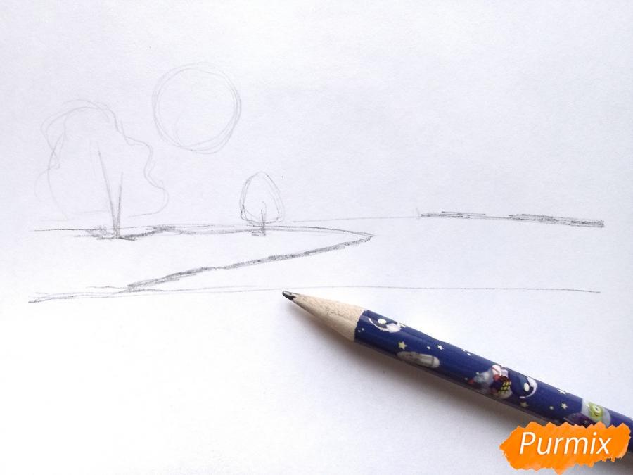 Рисуем зимний закат карандашами - шаг 2