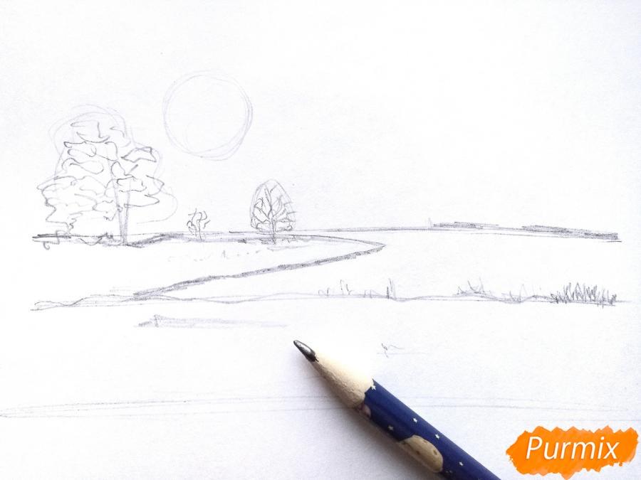 Рисуем зимний закат карандашами - шаг 3
