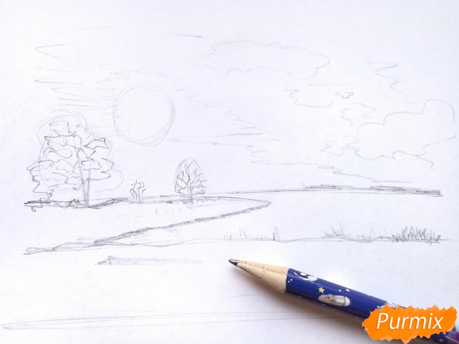 Рисуем зимний закат карандашами - шаг 4