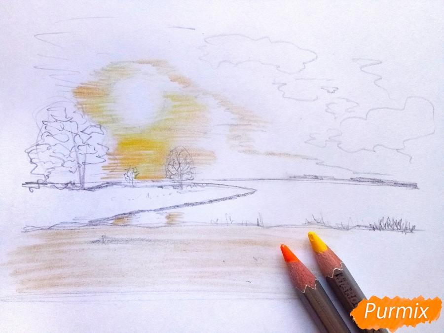 Рисуем зимний закат карандашами - шаг 5