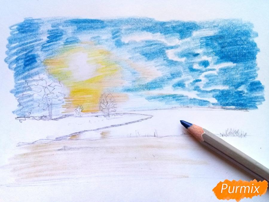 Рисуем зимний закат карандашами - шаг 6
