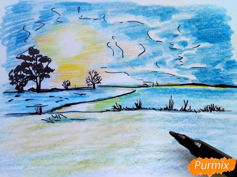 Рисуем зимний закат карандашами - шаг 8