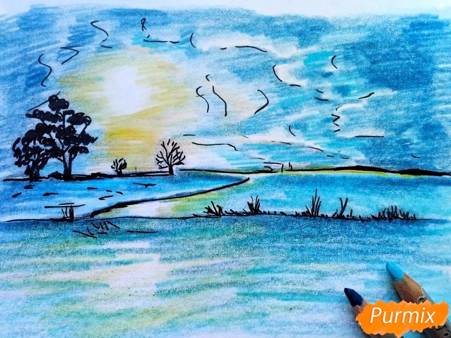 Рисуем зимний закат карандашами - шаг 9