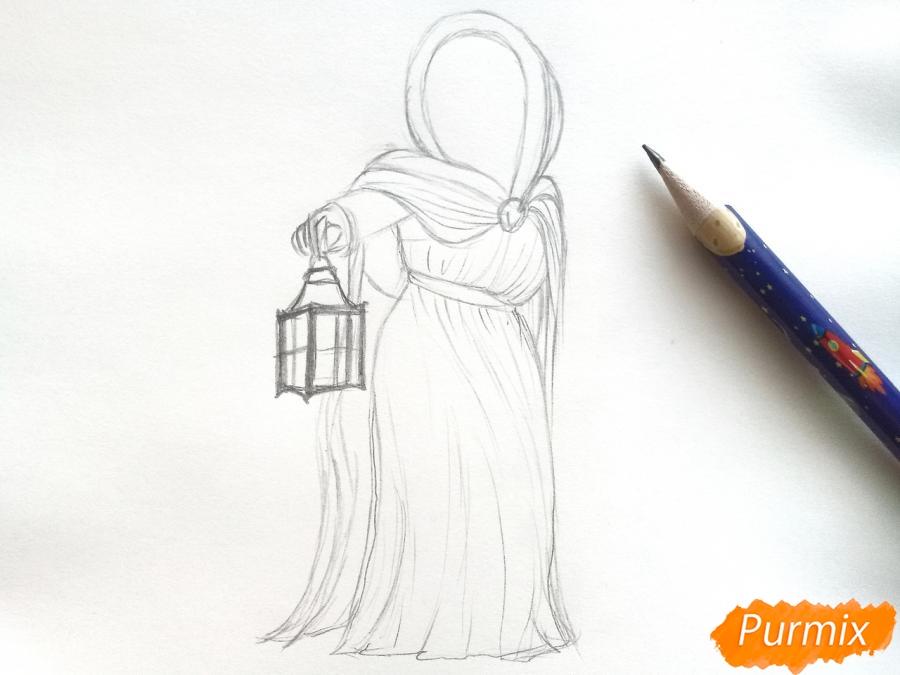 Рисуем зиму в виде девочки - шаг 4