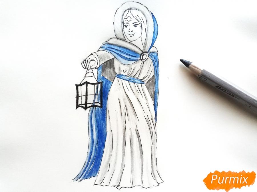 Рисуем зиму в виде девочки - шаг 8