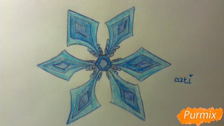 Как просто и красиво нарисовать снежинку на бумаге для детей - шаг 11
