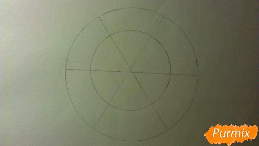 Как просто и красиво нарисовать снежинку на бумаге для детей - шаг 3