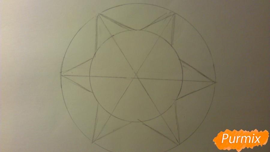 Как просто и красиво нарисовать снежинку на бумаге для детей - шаг 4