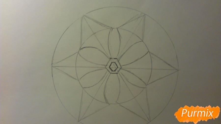 Как просто и красиво нарисовать снежинку на бумаге для детей - шаг 6