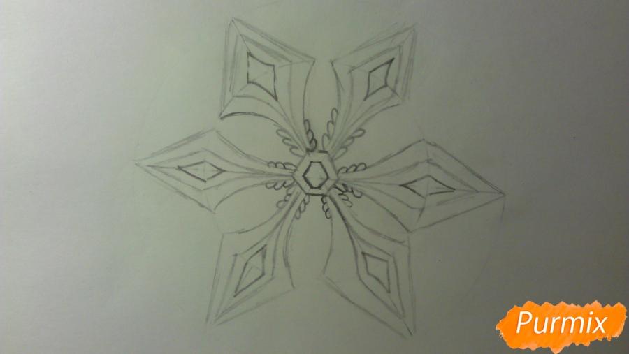Как просто и красиво нарисовать снежинку на бумаге для детей - шаг 8