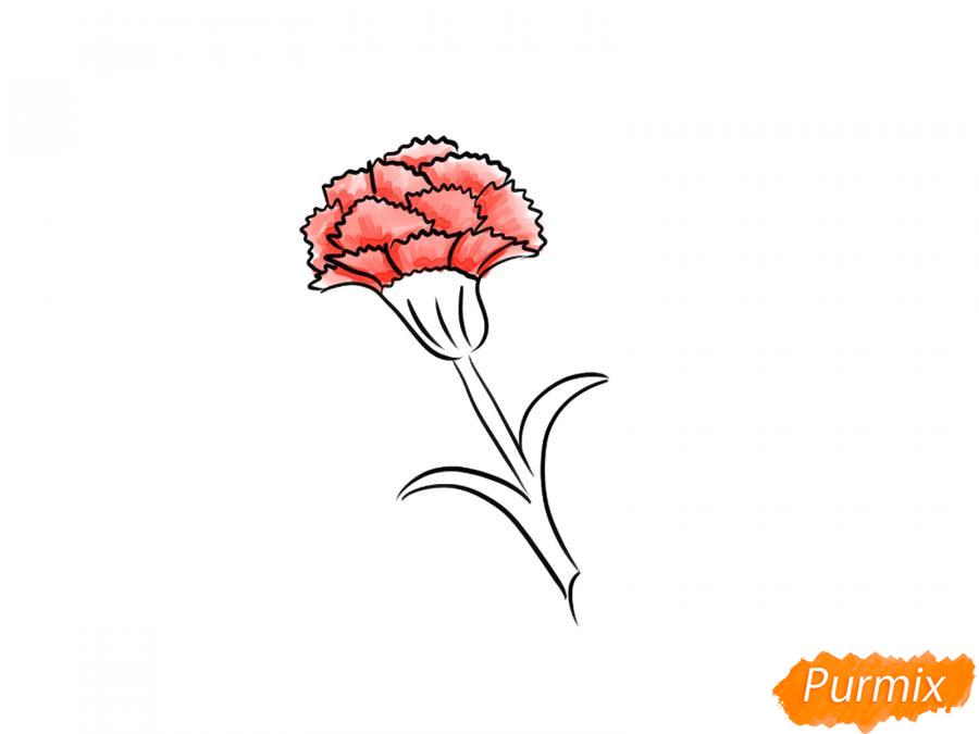 Как просто нарисовать одну гвоздику ребенку - шаг 6
