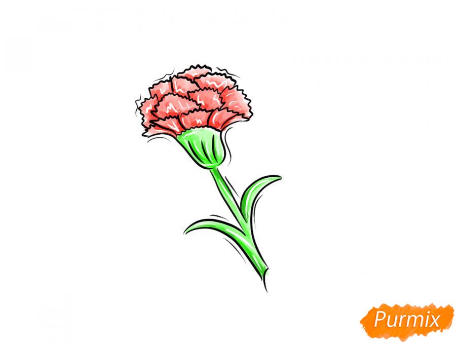 Как просто нарисовать одну гвоздику ребенку - шаг 8
