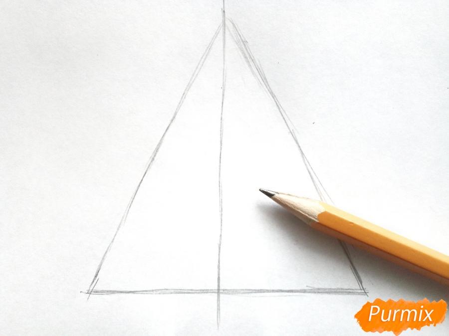 Как просто нарисовать новогоднюю елку для детей - шаг 1