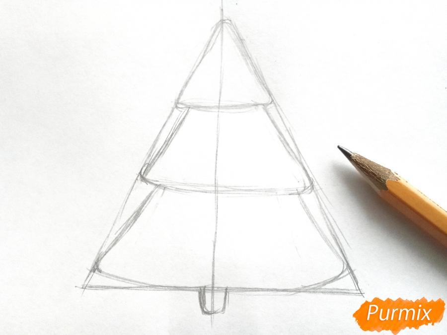 Как просто нарисовать новогоднюю елку для детей - шаг 2