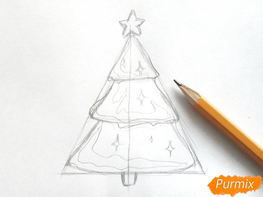 Как просто нарисовать новогоднюю елку для детей - шаг 3