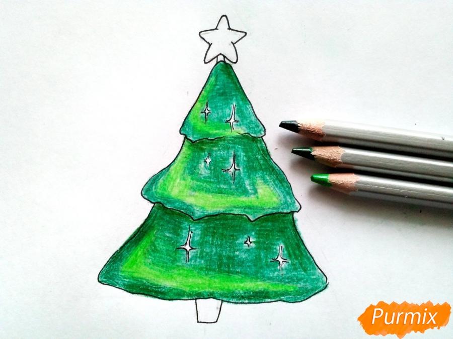 Как просто нарисовать новогоднюю елку для детей - шаг 5