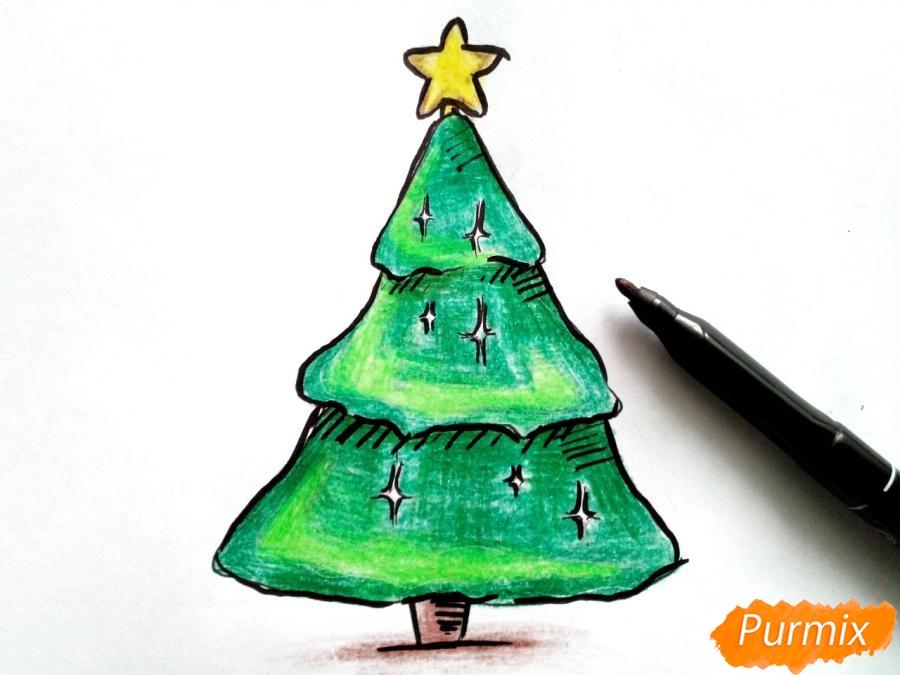 Как просто нарисовать новогоднюю елку для детей - шаг 6