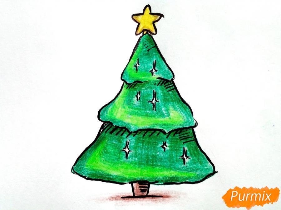 Как просто нарисовать новогоднюю елку для детей - шаг 7