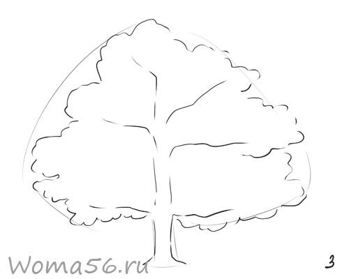 Рисуем лиственное дерево - шаг 3