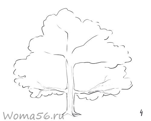 Рисуем лиственное дерево - шаг 4