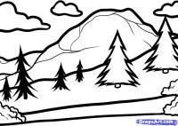 Фото горы, зеленую лужайку с елками и голубое озеро карандашом