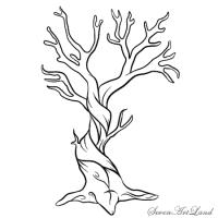 мертвое дерево карандашом