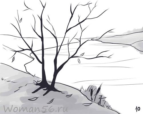 Рисуем осенний пейзаж карандашами - шаг 10