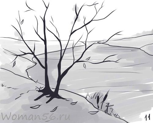 Рисуем осенний пейзаж карандашами - шаг 11