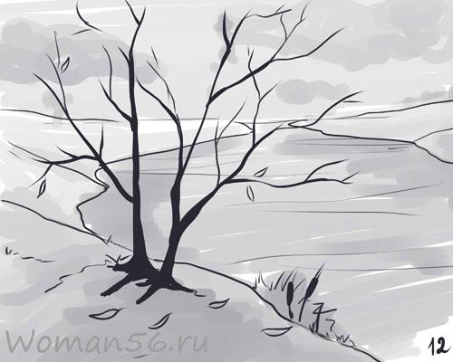 Рисуем осенний пейзаж карандашами - шаг 12